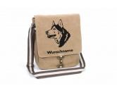 Leben & WohnenHundemotiv HandtücherHusky 3 Canvas Schultertasche Tasche mit Hundemotiv und Namen