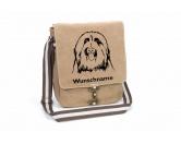 Warnwesten & SicherheitswestenWarnwesten mit Hunderasse MotivenBearded Collie 2 Canvas Schultertasche Tasche mit Hundemotiv und Namen