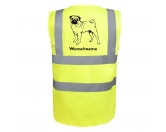 Für MenschenWeihnachtsmarktMops stehend - Hundesport Warnweste Sicherheitsweste mit Hundemotiv