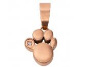 Hundespruch KollektionenKollektion -Ohne Katze ist alles doof-Energy and Life Magnetschmuck - Anhänger Pfote klein -Zirkonia- rose