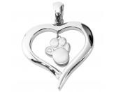 Für MenschenNostalgische GeschenkartikelEnergy and Life Magnetschmuck - Anhänger Herz mit Pfote -matt-