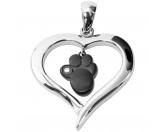 Für MenschenHundepfeifenEnergy and Life Magnetschmuck - Anhänger Herz mit Pfote -schwarz-