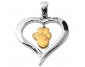 Für TiereHundepfeifen - HandarbeitEnergy and Life Magnetschmuck - Anhänger Herz mit Pfote -gold-