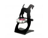 Hundespruch KollektionenKollektion -Mantrailing-Airedale Terrier Teelichthalter aus Stahl