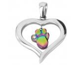 Für TiereHundepfeifen - HandarbeitEnergy and Life Magnetschmuck - Anhänger Herz mit Pfote -rainbow-