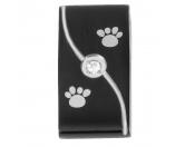 Schmuck & AccessoiresSchmuck für KatzenfansEnergy and Life Magnetschmuck - Anhänger Pfötchen Linie schwarz -Zirkonia- matt