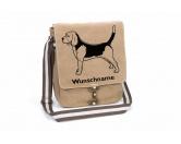 Taschen & RucksäckeCanvas Tasche HunderasseBeagle stehend Canvas Schultertasche Tasche mit Hundemotiv und Namen