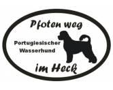 Selbstklebende KreidetafelnHundePfoten Weg - Aufkleber: Portugiesischer Wasserhund 2