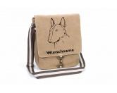 Für TiereHundemotiv - HandtücherBullterrier 3 Canvas Schultertasche Tasche mit Hundemotiv und Namen