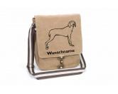 Tierische-FigurenVersilberte Hunde-FigurenWeimaraner 1 Canvas Schultertasche Tasche mit Hundemotiv und Namen