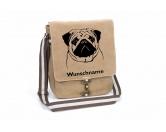 DuftbäumeHundemotiv DuftbäumeMops Canvas Schultertasche Tasche mit Hundemotiv und Namen