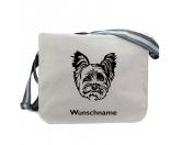 Schmuck & AccessoiresVersilberte AnhängerYorkshire Terrier 2 - Canvas Schultertasche Messenger mit Namen