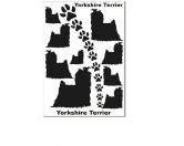 Schmuck & AccessoiresVersilberte AnhängerAufkleber Silhouetten-Satz: Yorkshire Terrier