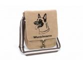 SchlüsselanhängerSchlüsselanhänger versilbertBelgischer Schäferhund Malinois 1 Canvas Schultertasche Tasche mit Hundemotiv und Namen
