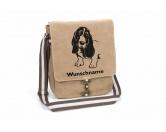 RestpostenBasset 1 Canvas Schultertasche Tasche mit Hundemotiv und Namen
