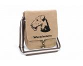 Hundespruch KollektionenKollektion -Mantrailing-Airedale Terrier 2 Canvas Schultertasche Tasche mit Hundemotiv und Namen