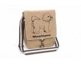 Figuren & EmblemeTürschilder & MetallemblemeBichon Frise Canvas Schultertasche Tasche mit Hundemotiv und Namen
