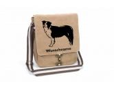 Leben & WohnenKissen & KissenbezügeBorder Collie 1 Canvas Schultertasche Tasche mit Hundemotiv und Namen