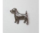 Schmuck & AccessoiresVergoldete AnhängerZinn-Brosche: Jack Russell Terrier Versilbert
