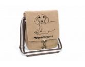 Taschen & RucksäckeGeldbörsen & HandytaschenDackel 2 Canvas Schultertasche Tasche mit Hundemotiv und Namen