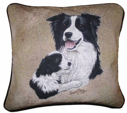 hunde baumwoll kissenbezug border collie familie. Black Bedroom Furniture Sets. Home Design Ideas