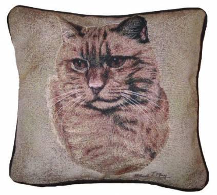 hunde katzenmotiv baumwoll kissen katze ginger tabby tierisch tolle geschenke. Black Bedroom Furniture Sets. Home Design Ideas