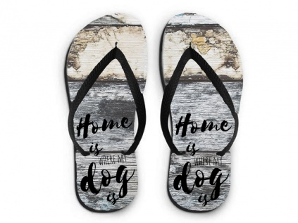 flip flops sandalen home is where my dog is tierisch. Black Bedroom Furniture Sets. Home Design Ideas