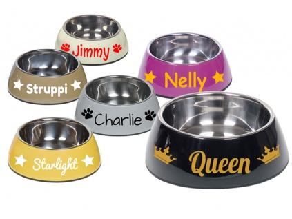 Wasser- & Futternäpfe für Hunde & KatzenMelamin Napf -NOBLY- mit Namen, 160 ml, weiss