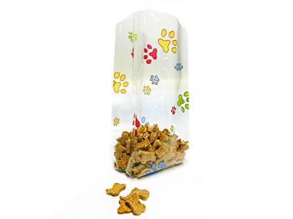 Geschenk-VerpackungenFolien Beutel: Hunde Pfoten bunt -Klein- 9cm X 19cm - 10erpack