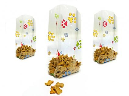 Geschenk-VerpackungenFolien Beutel: Hunde Pfoten bunt -Gross- 12cm X 29cm - 10erpack