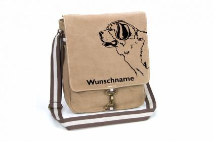 bernhadiner canvas schultertasche tasche mit hundemotiv und namen tierisch tolle geschenke. Black Bedroom Furniture Sets. Home Design Ideas