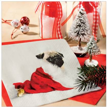 papier servietten hunde mops gross xmas tierisch tolle. Black Bedroom Furniture Sets. Home Design Ideas